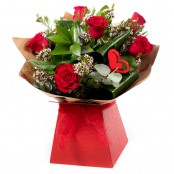 6 Red Roses , foliage and gypsophila